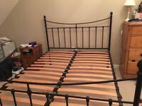 King sized metal bed frame, Black.