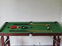 Pool & Snooker Table with folding legs 2 Cues & full set of balls