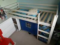 Wooden midsleeper cabin bed with table