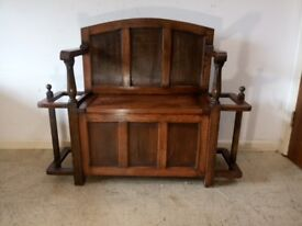 Antique Solid OAK Monks Bench Hall Seat With Umbrella Stick Stand With Storage Hall Tidy