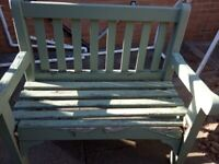 Green Wood Wooden Garden Outdoor Bench Seat with Slats