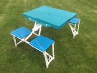 CAMPING PICNIC TABLE WITH INTEGRAL SEATS – FOLD-UP/BRIEFCASE TYPE