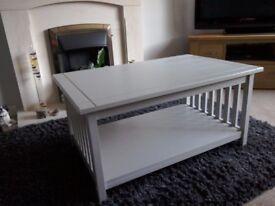 Coffee table. Pine painted light grey. 90cm L X 58cm W X 44cm H.
