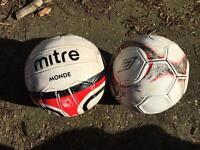 2 x football match balls Mitre Monde and Umbro