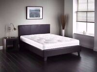 FREE AND FAST DELIVERY /// DOUBLE LEATHER BED WITH MATTRESS BLACK/BROWN ///