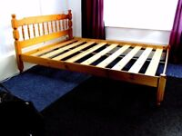 King Size Pine Slated Bed Base with Headboard