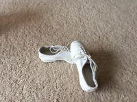 Children's white jazz / disco / dance shoes size 10