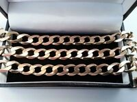 Beautiful, Mens Heavy 9ct Solid Yellow Gold Curb Chain, 375 Fully Hallmarked.