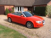 AUDI A4 S LINE CONVERTIBLE TDI 140 RED 2 OWNERS ONLY 46655 MILES FULL SERVICE HISTORY 2006