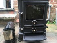 Stovax cast iron wood burner with connecting flue