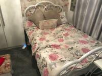 Small double (4ft) vintage white metal bed frame.