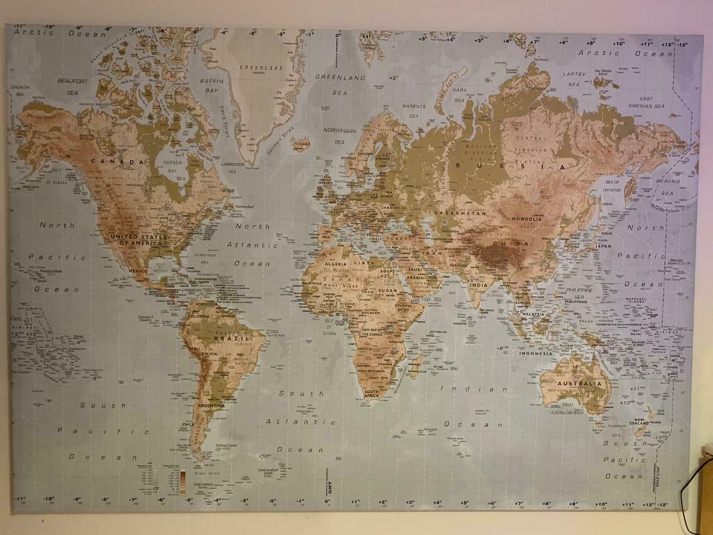 Rare Ikea Premiar Canvas World Map In Bridge Of Weir