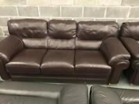 Dark brown real leather suite