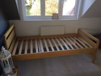 John Lewis pine single bed (with free bedlinen bundle)