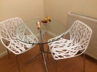 White Dinning chairs in tree of life style used x 2
