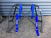*** Mitsubishi Evo 6 7 8 9 Roll Cage + FIA Approved + Sparco 6 Point Club Racer Blue Harness ***