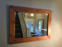 Solid Pine Bevelled Mirror Wide Pine Frame W26.5in/67cm L36.5in/93cm