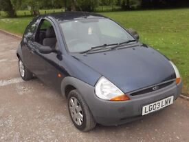 2003 FORD KA 1.3, MOT 31ST AUGUST 2017, ONLY 81,000 MILES, ONLY £295