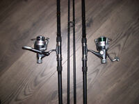 2 OAKWOOD RODS WITH REELS AND LINE