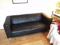 IKEA Black leather Klippan sofa