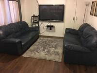 2 x real leather 3 seater sofa