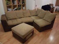 Corner Sofa & Pouffe