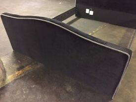 "NEW 4'6"" Double Bed Black Velvet Head Board and Foot Board ONLY"