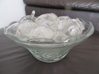 Classic Indonesian Glass Punch Bowl with 12 Cups - Featuring a Fruits Pattern - Excellent Condition