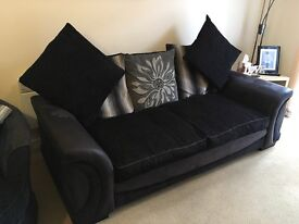 3 seater sofa, scatter back cushions, black