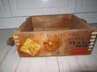 Vintage Ammunition Wooden Square Ammo Box