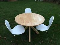 Oak round table and three chairs