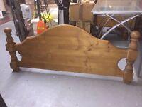 Antique pine headboard