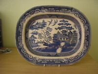 Large oval blue and white platter and four small blue and white dishes