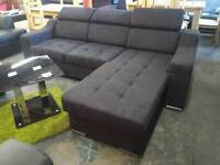 New Black Fabric Corner Sofa Bed