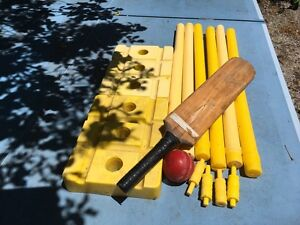 Child's plastic cricket stumps, wooden bat Kyneton Macedon Ranges Preview