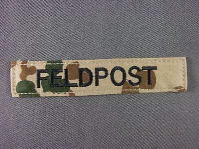 Namenstreifen Feldpost schwarz auf wüstentarn maschinengestickt mit Klett 5Stück ()