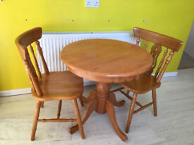 Kitchen wooden round table and 2 chairs