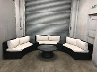 FREE DELIVERY OCEANS BLACK GARDEN RATTAN CRESCENT SOFA & GLASS TOP TABLE GOOD CONDITION