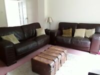 FREE! 3 + 2 seater brown leather sofas