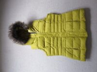 New Joules size 14 fur trimmed hooded gilet mustard yellow