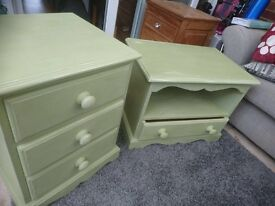 Shabby chic solid pine TV unit and bedside table