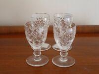 Four Royal Doulton crystal liqueur glasses in Georgian design - mint condition