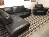 Fantastic brown leather corner sofa + arm chair