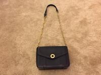 Aspinal of London Discontinued Victoria Shoulder Bag in Navy Pebble & Navy Lizard