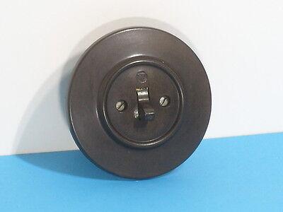 Art Déco Lichtschalter Ein/Aus schwarz 10 A 220 Volt Unterputz DDR