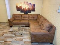 Rich Hide Leather Tan Leather Corner Sofa