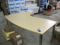 Office desk corner unit rounded front