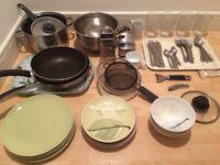 Pots pans plates cutleries glasses cups etc