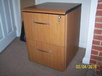 Two drawer teak effect filing cabinet