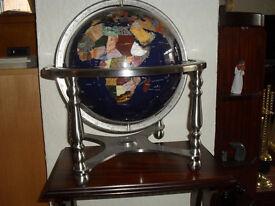 Stunning Gemstone Globe with Compass